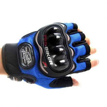Load image into Gallery viewer, Pro Biker Half Finger Riding Gloves (Blue)