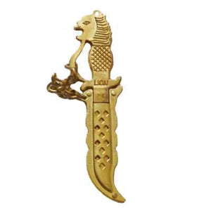 Brass Lion Face & Knife Design Key Block Right Side Cut For Motorcycle