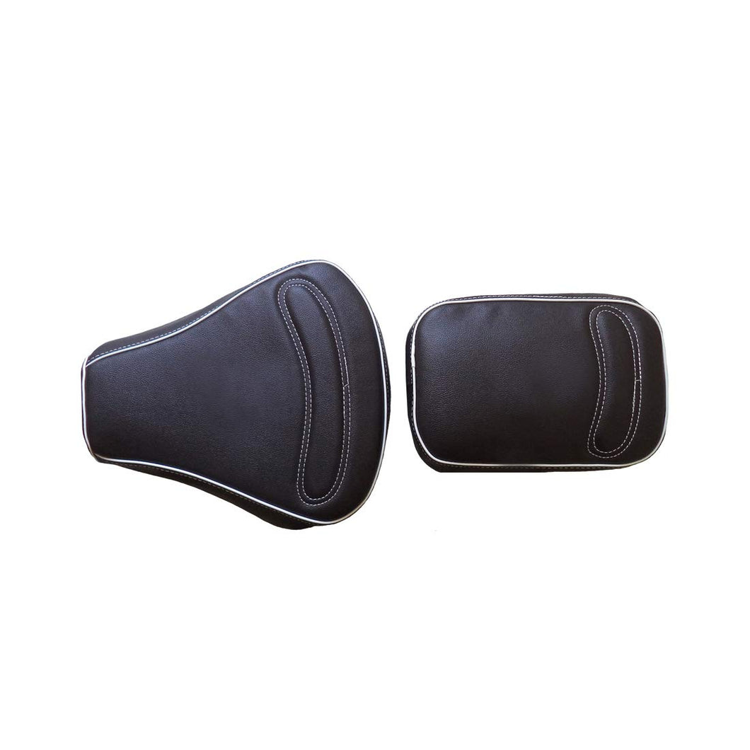 Leatherette Seat Cover Black With Foam Stitch Design & Piping For Royal Enfield Classic Modal