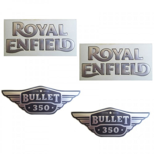 Petrol Tank & Tool Box Sticker Set Silver For Royal Enfield UCE Bullet Electra Modal