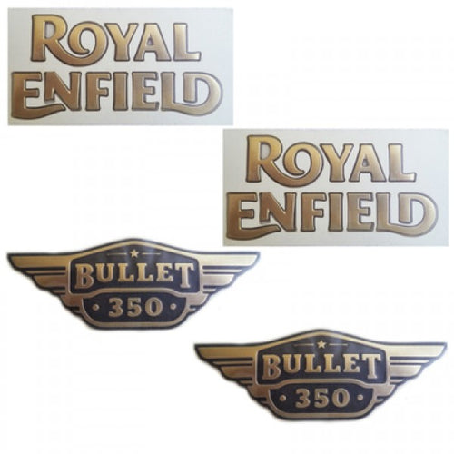 Petrol Tank & Tool Box Sticker Set Golden For Royal Enfield UCE Bullet Electra Modal