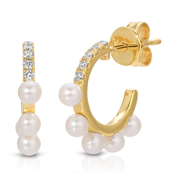 Mama bijoux diamond pearl earring huggie earring ear stack mommy and me jewelry fine