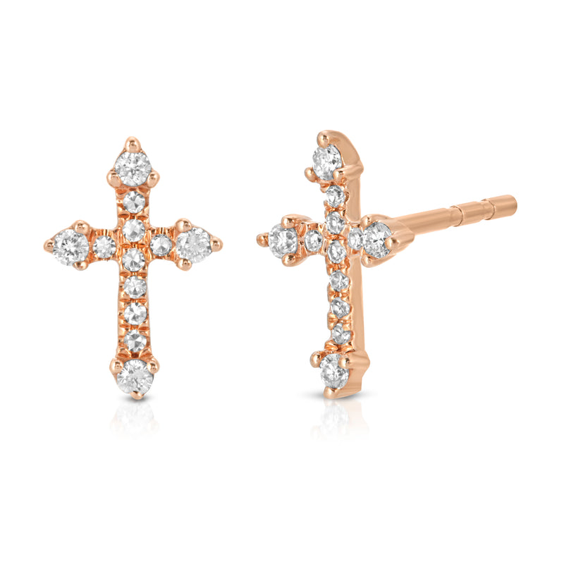 Mini Diamond Italian Cross Stud Earrings