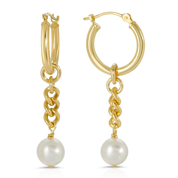 chain and freshwater pearl earring charms hoop earrings 14k gold mommy and me mama bijoux