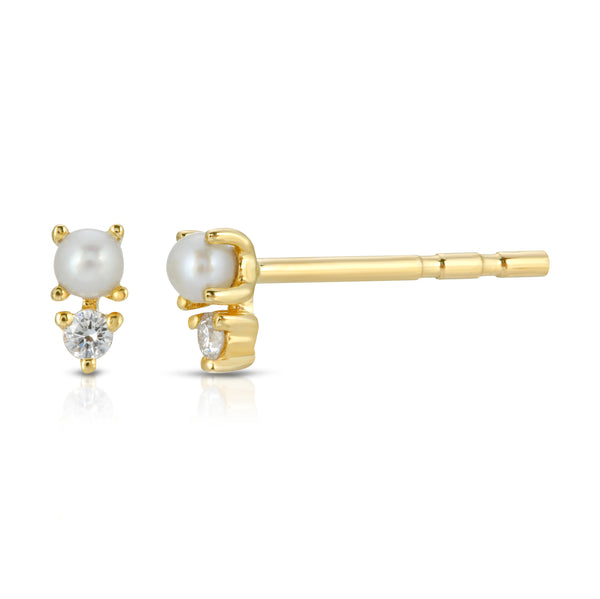 diamond and pearl dagger stud earring stack mama bijoux styline piercing party look 14k yellow gold