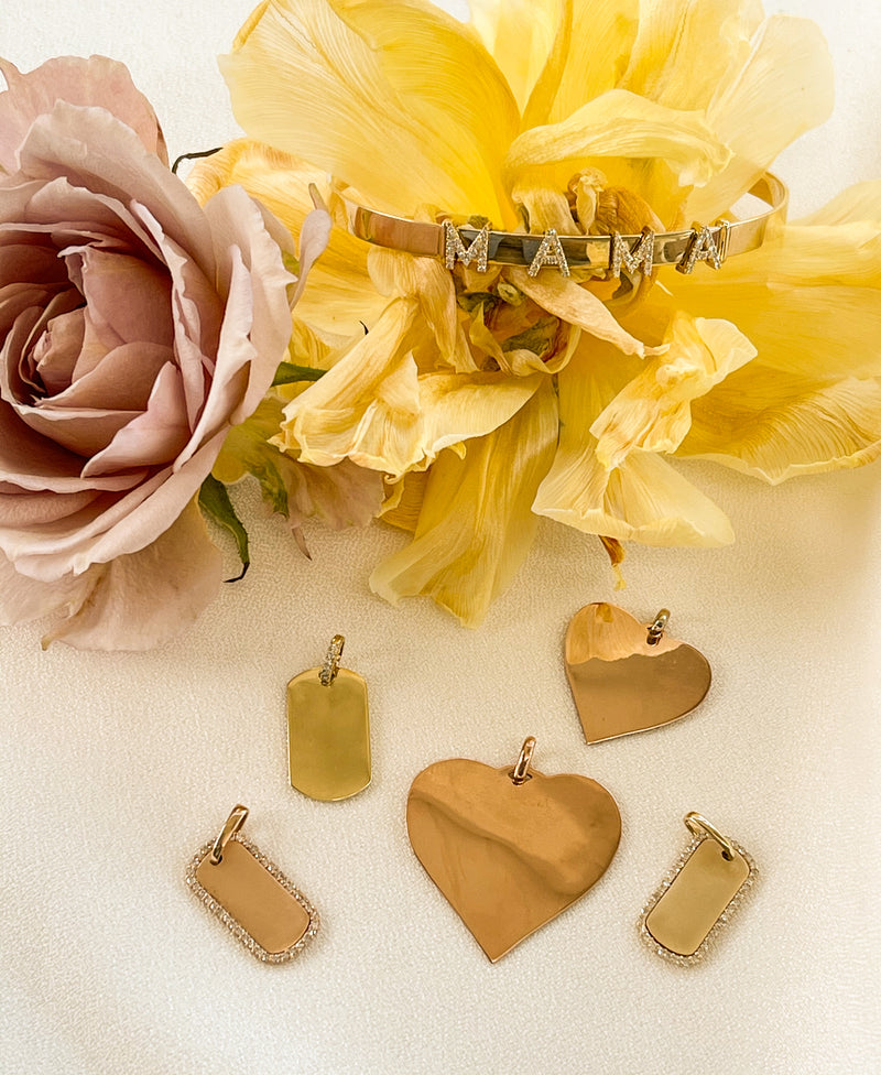 14k gold heart charm engraving gifts mommy and me Mother's Day gift sentimental Mama Bijoux