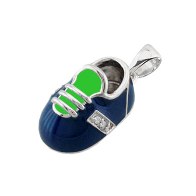 baby shoe charm pendant with diamonds in blue and green enamel