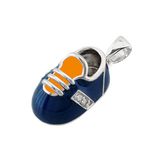 baby shoe charm pendant with diamonds in blue