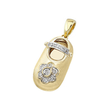 baby shoe charm pendant with diamond flower