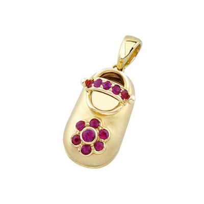 baby shoe charm pendant with birthstone flower