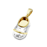 baby shoe charm pendant with white mat finish