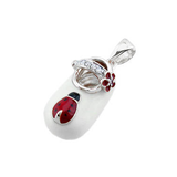 baby shoe charm pendant with ladybug and diamond starp