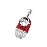 baby shoe charm pendant with diamond toe