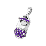baby shoe charm pendant with birthstone toe