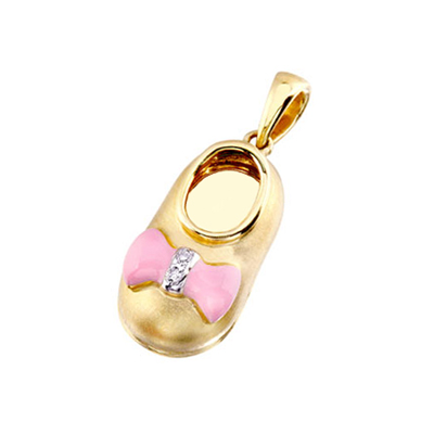 baby shoe charm pendant with diamond pink bow