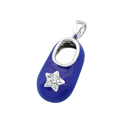 baby shoe charm pendant with diamond star