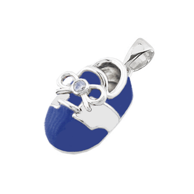 baby shoe charm pendant with diamond bow