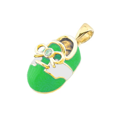 baby shoe charm pendant with diamond bow in green and white enamel in 14k white gold