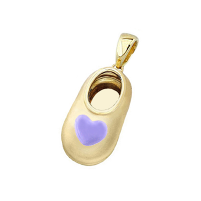 baby shoe charm pendant with purple heart