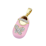 baby shoe charm pendant with diamond butterfly and strap in pink in 18k yellow gold