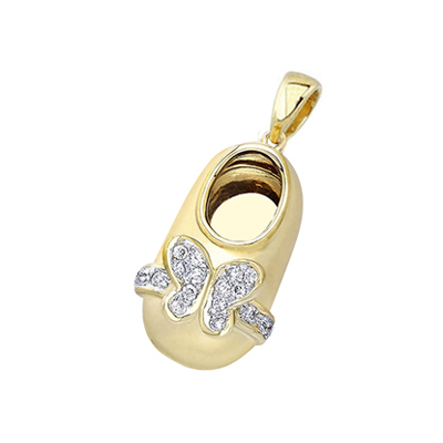 baby shoe charm pendant with diamond butterfly