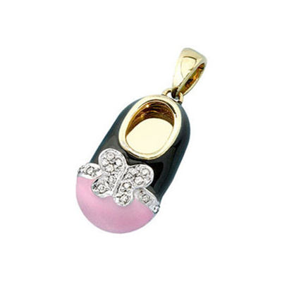 baby shoe charm pendant with diamond butterfly and pink toe in 18k yellow gold
