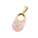 baby shoe charm pendant with diamond butterfly and pink color in 14k yellow gold