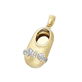 14k Gold Baby Shoe Charm Pendant with Diamond Bow P-708