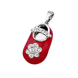 18k Baby Shoe Charm Pendant with Diamonds and Enamel P-501A-R