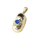 14k Baby Shoe Charm Pendant with Birthstone P-108-S*
