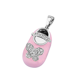 18k Baby Shoe Charm Pendant with Diamonds and Enamel P-951A-N