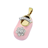18k Baby Shoe Charm Pendant with Diamonds and Enamel P-502A-N