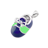 14k Baby Shoe Charm Pendant with Diamond and Enamel P-803-BG