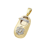 18k Baby Shoe Charm Pendant with Diamonds P-502A