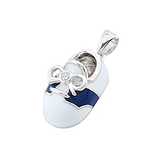 14k White Gold Baby Shoe Charm with Diamonds P-805-WB