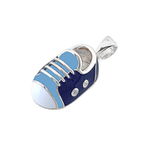 14k Baby Shoe Charm Pendant with Diamonds and Enamel P-401-BQW