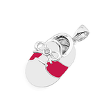 14k Baby Shoe Charm Pendant with Diamond and Enamel P-803-WR