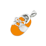 14k Baby Shoe Charm Pendant with Diamond and Enamel P-803-OW
