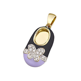 14k Baby Shoe Charm Pendant with Diamonds and Enamel P-988-KP