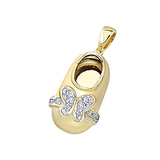 18k Baby Shoe Charm Pendant with Diamonds P-988