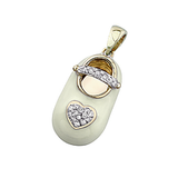 14k Baby Shoe Charm Pendant with Diamonds and Enamel P-902A-Y