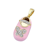 18k Baby Shoe Charm Pendant with Diamonds and Enamel P-952A-N