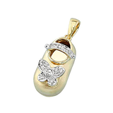 14k Baby Shoe Charm Pendant with Diamonds P-952A