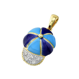 14k Yellow Gold Navy and Turquoise Blue Baby Baseball Cap Charm with Diamonds C-264E-BB