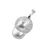 14k White Gold Baby Baseball Cap Charm with Diamonds C-317