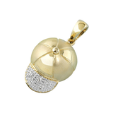 14k Yellow Gold Baby Baseball Cap Charm with Diamonds C-264