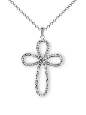 18k Diamond Cross Necklace P-11346