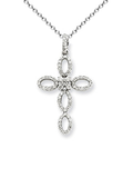 18k Diamond Cross Necklace P-15072
