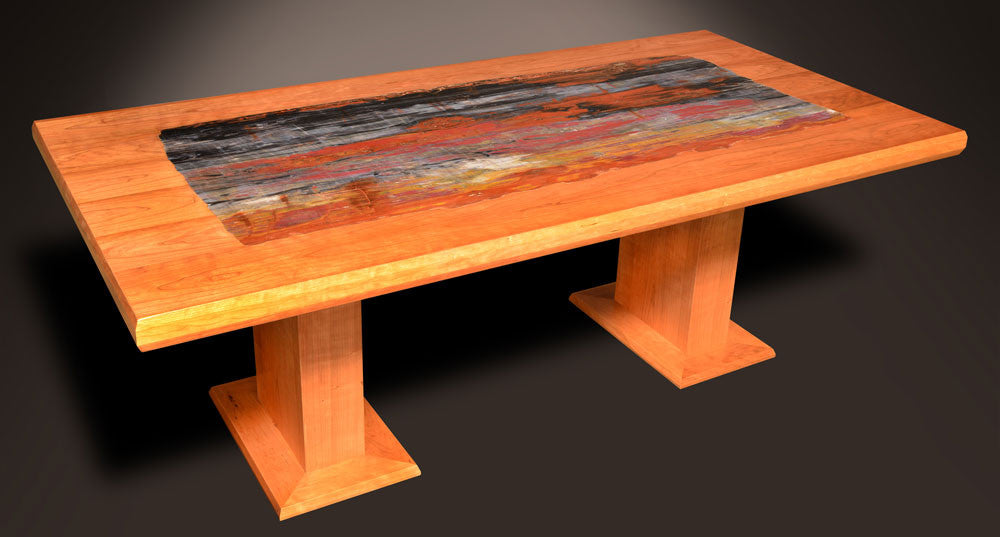 fossilized wood table
