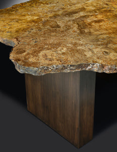 unique table of petrified wood
